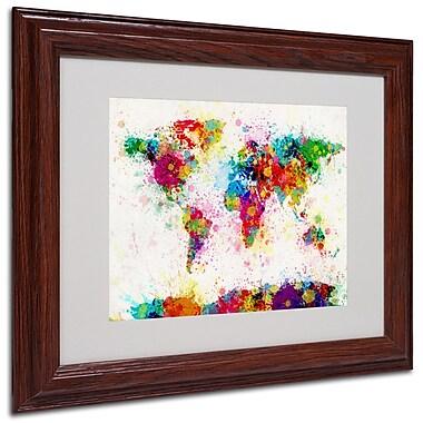 Michael Tompsett 'World Map-Paint' Framed Matted Art - 11x14 Inches - Wood Frame
