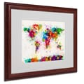 Michael Tompsett 'World Map-Paint' Framed Matted Art - 16x20 Inches - Wood Frame
