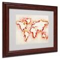 Michael Tompsett 'World Map-Orange' Framed Matted Art - 11x14 Inches - Wood Frame