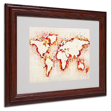 Michael Tompsett 'World Map-Orange' Framed Matted Art - 11x14 Inches - Wood Frame