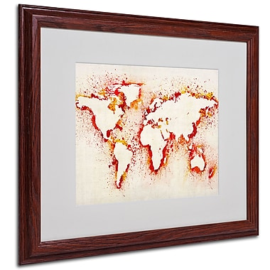 Michael Tompsett 'World Map-Orange' Framed Matted Art - 16x20 Inches - Wood Frame