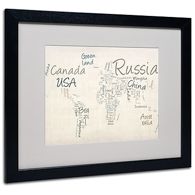 Michael Tompsett 'Typography World Map' Framed Matted Art - 16x20 Inches - Wood Frame