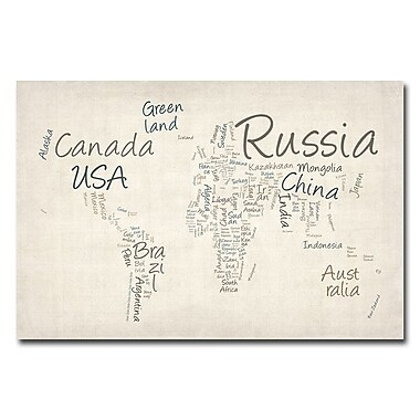 Trademark Fine Art Michael Tompsett 'Typography World Map' Canvas Art