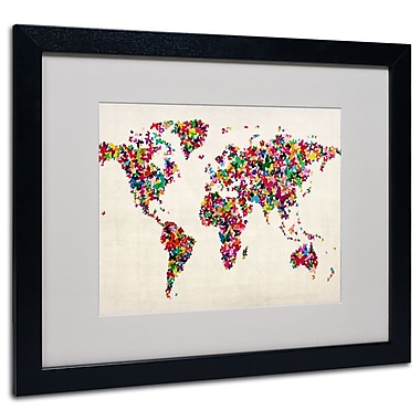 Michael Tompsett 'Butterfly World Map' Framed Matted Art - 11x14 Inches - Wood Frame