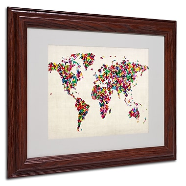 Michael Tompsett 'Butterfly World Map' Framed Matted Art - 16x20 Inches - Wood Frame