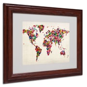 Michael Tompsett 'Butterfly World Map' Framed Matted Art - 16x20 Inches - Wood Frame