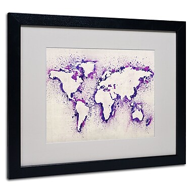 Trademark Fine Art Michael Tompsett 'World Map Purple Splash' Matted Art Black Frame 16x20 Inches