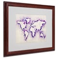 Michael Tompsett 'World Map Purple Splash' Framed Matted Art - 16x20 Inches - Wood Frame