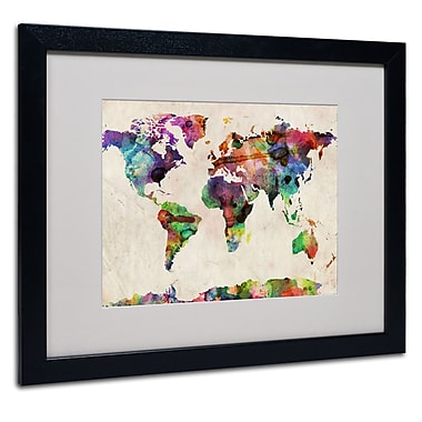 Michael Tompsett 'Urban Watercolor World Map' Matted Framed - 11x14 Inches - Wood Frame