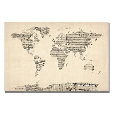 Trademark Fine Art Michael Tompsett 'Old Sheet Music World Map' Canvas Art