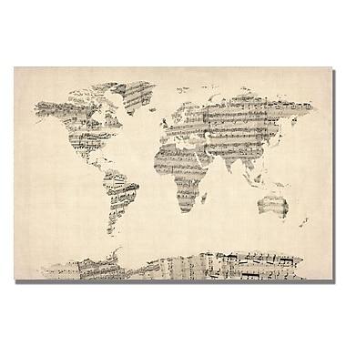 Trademark Fine Art Michael Tompsett 'Old Sheet Music World Map' Matted A Black Frame 11x14 Inches