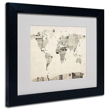 Trademark Fine Art Michael Tompsett 'Vintage Postcard World Map' Matted Black Frame 11x14 Inches