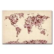Trademark Fine Art Michael Tompsett 'Vintage Hearts World Map' Canvas Art