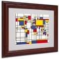Michael Tompsett 'Mondrian World Map' Matted Framed Art - 16x20 Inches - Wood Frame