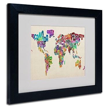 Trademark Fine Art Michael Tompsett 'Typography World Map II' Matted Art Black Frame 11x14 Inches