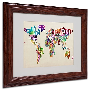 Michael Tompsett 'Typography World Map II' Matted Framed Art - 16x20 Inches - Wood Frame