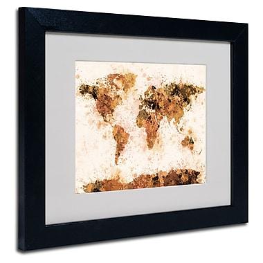 Trademark Fine Art Michael Tompsett 'Bronze Paint Splash World Map' Matted Fram Black Frame 11x14 Inches
