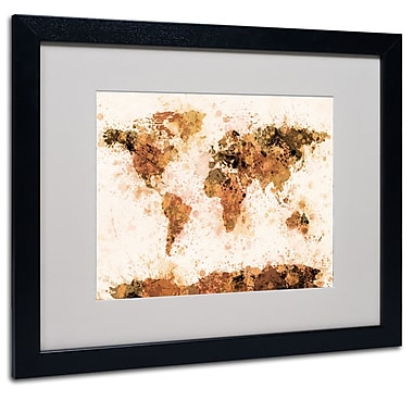 Michael Tompsett 'Bronze Paint Splash World Map' Matted Fram - 11x14 Inches - Wood Frame