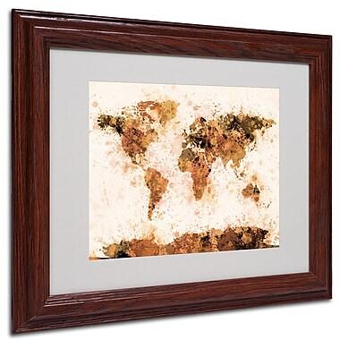 Michael Tompsett 'Bronze Paint Splash World Map' Matted Fram - 16x20 Inches - Wood Frame