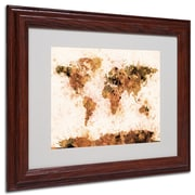 Michael Tompsett 'Bronze Paint Splash World Map' Matted Fram - 16x20 Inches - Wood Frame
