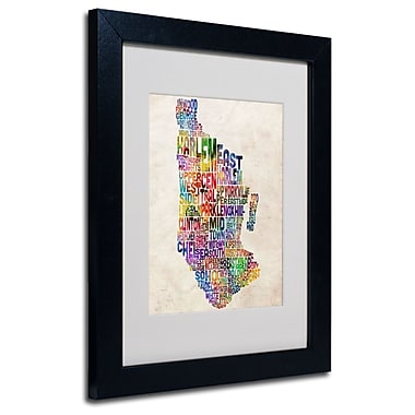 Trademark Fine Art Michael Tompsett 'Manhatan Typography Map' Matted Art Black Frame 11x14 Inches