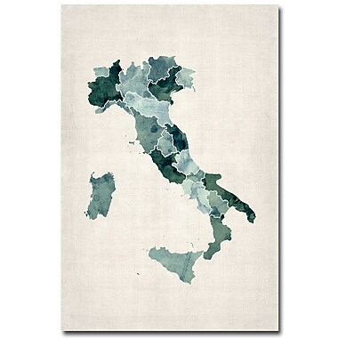 Trademark Fine Art Michael Tompsett 'Italy Watercolor Map' Canvas Art 16x24 Inches