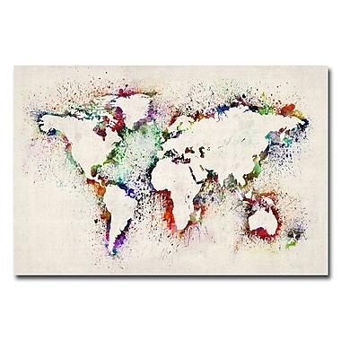 Trademark Fine Art Michael Tompsett 'World Map-Paint Splashes' Canvas Art 16x24 Inches