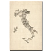 Trademark Fine Art Michael Tompsett 'Italy-Old Sheet Music Map' Canvas Art 16x24 Inches