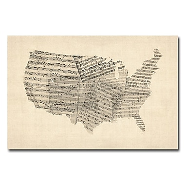 Trademark Fine Art Michael Tompsett 'USA-Old Sheet Music Map' Canvas Art