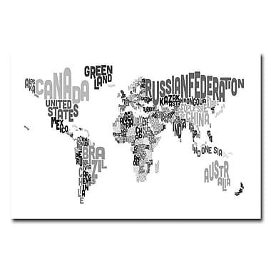 Trademark Fine Art Michael Tompsett 'World Text Map B&W' Canvas Art 22x32 Inches