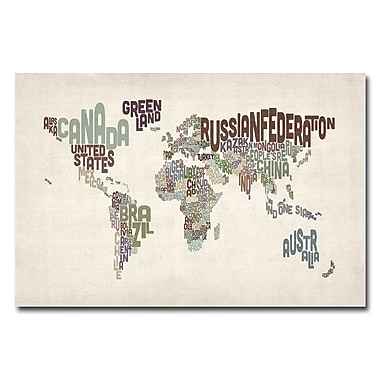 Trademark Fine Art Michael Tompsett 'World Text Map II' Canvas Art 16x24 Inches