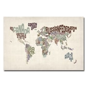 Trademark Fine Art Michael Tompsett 'World Text Map II' Canvas Art 22x32 Inches