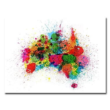 Trademark Fine Art Michael Tompsett 'Australia Paint Splashes' Canvas Art 24x32 Inches