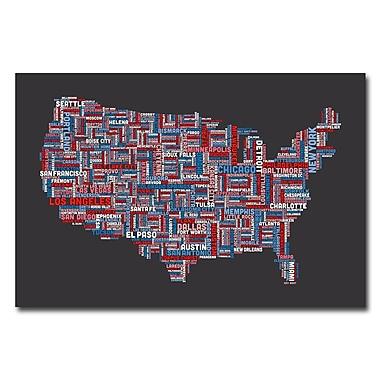 Trademark Fine Art Michael Tompsett 'US Cities Text Map III' Canvas Art