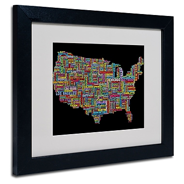 Trademark Fine Art Michael Tompsett 'US Cities Text Map II' Matted Art Black Frame 16x20 Inches