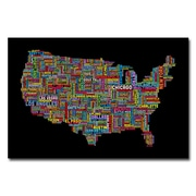 Trademark Fine Art Michael Tompsett 'US Cities Text Map II' Canvas Art 22x32 Inches