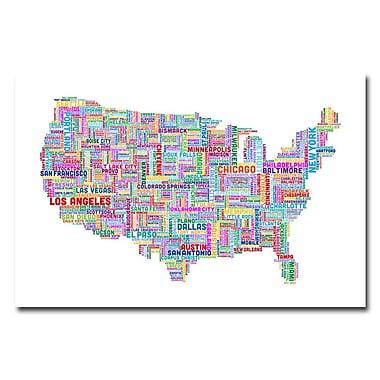 Trademark Fine Art Michael Tompsett 'US Cities Text Map V' Canvas Art