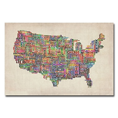Trademark Fine Art Michael Tompsett 'US Cities Text Map VI' Canvas Art 22x32 Inches