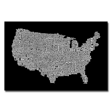 Trademark Fine Art Michael Tompsett 'US City Map B&W' Canvas Art 16x24 Inches