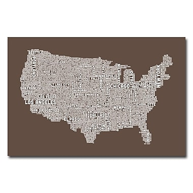 Trademark Fine Art Michael Tompsett 'US City Map II' Canvas Art 16x24 Inches