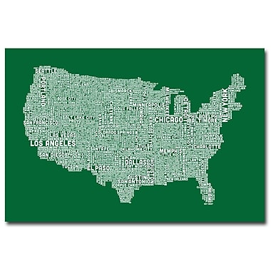 Trademark Fine Art Michael Tompsett 'US City Map III' Canvas Art 22x32 Inches