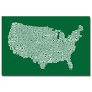 "Trademark Fine Art 'US City Map III' 30"" x 47"" Canvas Art"