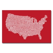 Trademark Fine Art Michael Tompsett 'US City Map XI' Canvas Art 30x47 Inches
