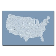 Trademark Fine Art Michael Tompsett 'US City Map XII' Canvas Art 16x24 Inches