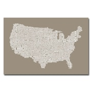 Trademark Fine Art Michael Tompsett 'US City Map XIV' Canvas Art 22x32 Inches