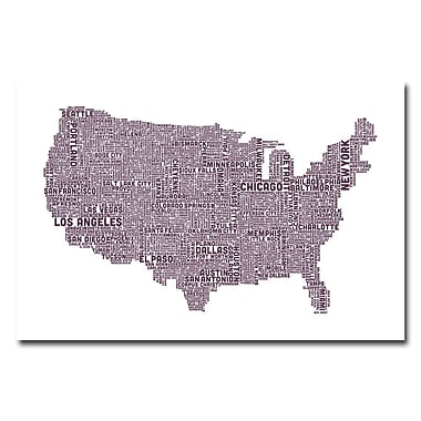 Trademark Fine Art Michael Tompsett 'US City Map XVII' Canvas Art 16x24 Inches