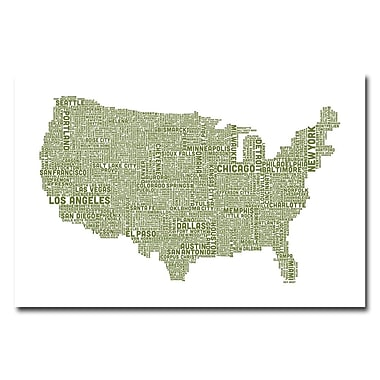 Trademark Fine Art Michael Tompsett 'US City Map XVIII' Canvas Art 30x47 Inches