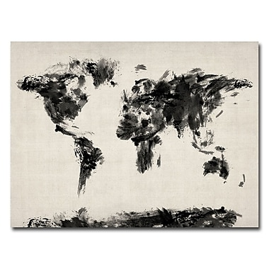 Trademark Fine Art Michael Tompsett 'Abstract Map of the World' Canvas Art 18x24 Inches