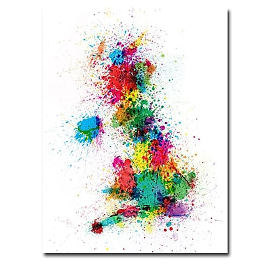 Trademark Fine Art Michael Tompsett 'UK-Paint Splashes' Canvas Art 18x24 Inches