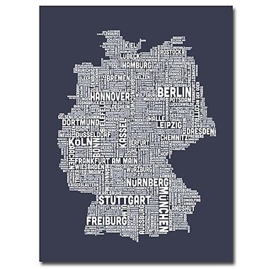 Trademark Fine Art Michael Tompsett 'Germany City Map II' Canvas Art 18x24 Inches